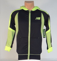 New Balance Black & Lime Zip Front Hooded Track Jacket Hoodie Youth Boys... - $52.49