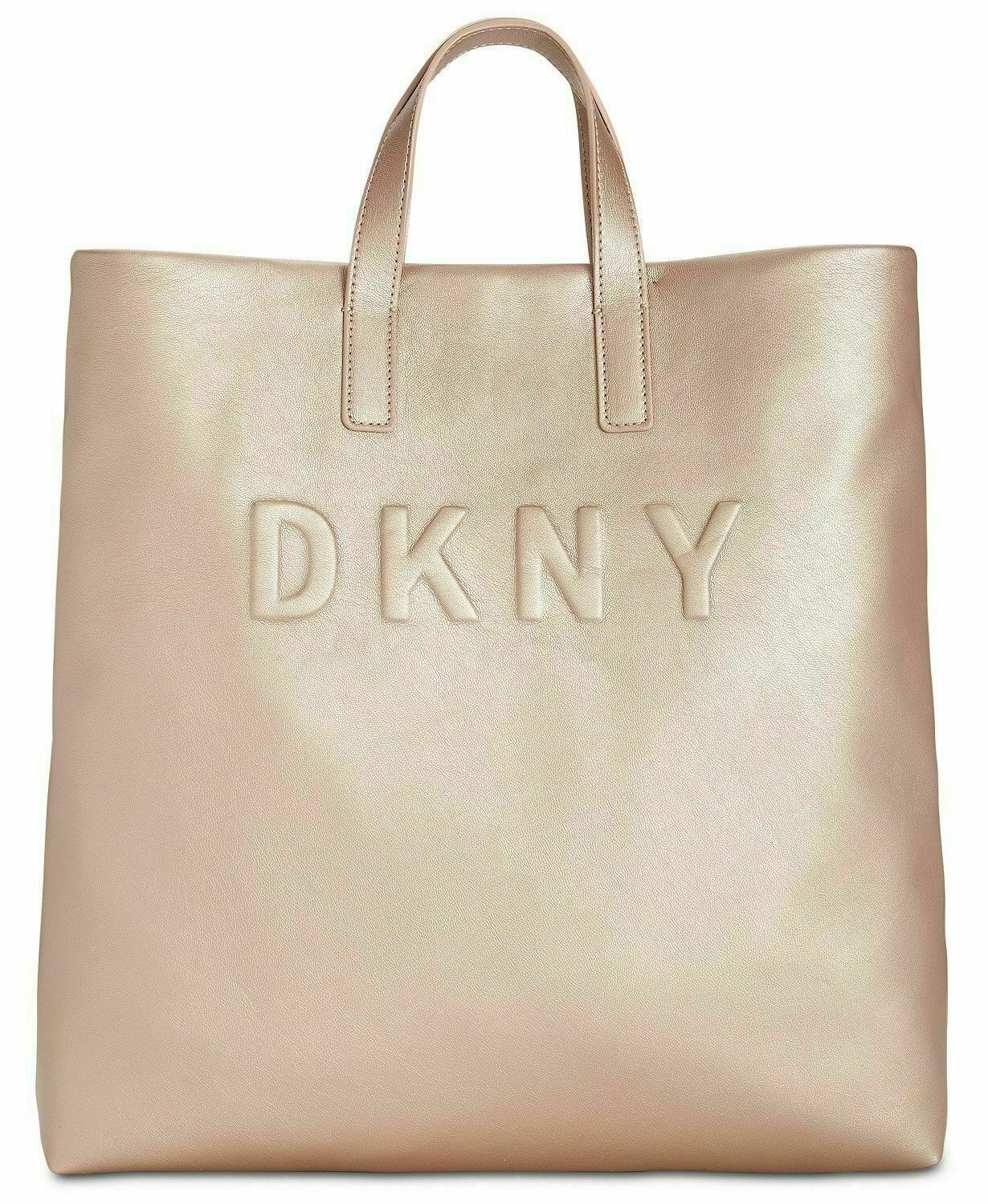 NWT DKNY Women's Tilly Large Tote Crossbody Strap Embossed Signature Logo, Gold