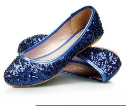 Women Sequin Royal Blue Wedding/Bridal Ballet Flat Shoe US Size 5.5,6,7,... - $38.00