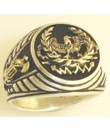14 Karat Gold Roman Eagle Fasces signet sterlin... - $321.75