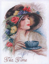 Cross Stitch Hand Embroidery Kit with Pattern Tea Time - $24.49