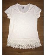 ! self esteem white crochet lace trim tee shirt top small 6 - 7 - $3.96