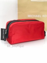 NWT Michael Kors Mens Kent Travel Case Toiletry Holder Nylon Leather Red... - $46.71