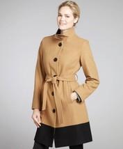 Anne Klein Walking Coat Jacket Wool Blend Camel Black Colorblock Belted ... - $59.82