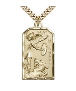 14k Gold Filled Saint Michael The Archangel Pendant With 24 Inch Curb Chain - $189.99