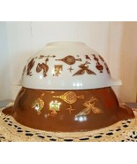PYREX Cinderella Mixing Bowl LOT Early American Brown White Milk Glass Tab Spout - $24.74