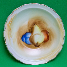 Vintage Unmarked Small Porcelain Sauce Dish Or Saucer, Fruit Design - $2.95