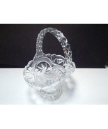 Cut Crystal Footed Basket ~~ pinwheel star of david - $9.99