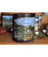Hand Painted Collectible Vintage Flour Sifter, Summer Scene, Metal Art, ... - $47.50