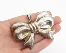 925 Sterling Silver - Vintage Shiny Hollow Bow Tied Ribbon Brooch Pin - ... - $65.55