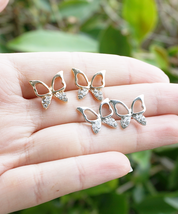 Silver or Gold Butterfly Stud Earrings, Simple Butterfly Earrings, Cute Earrings - $12.00