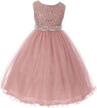 Flower Girl Dress Glitters Sequin Top Rhinestone Sash Mauve MBK 340 - $47.99