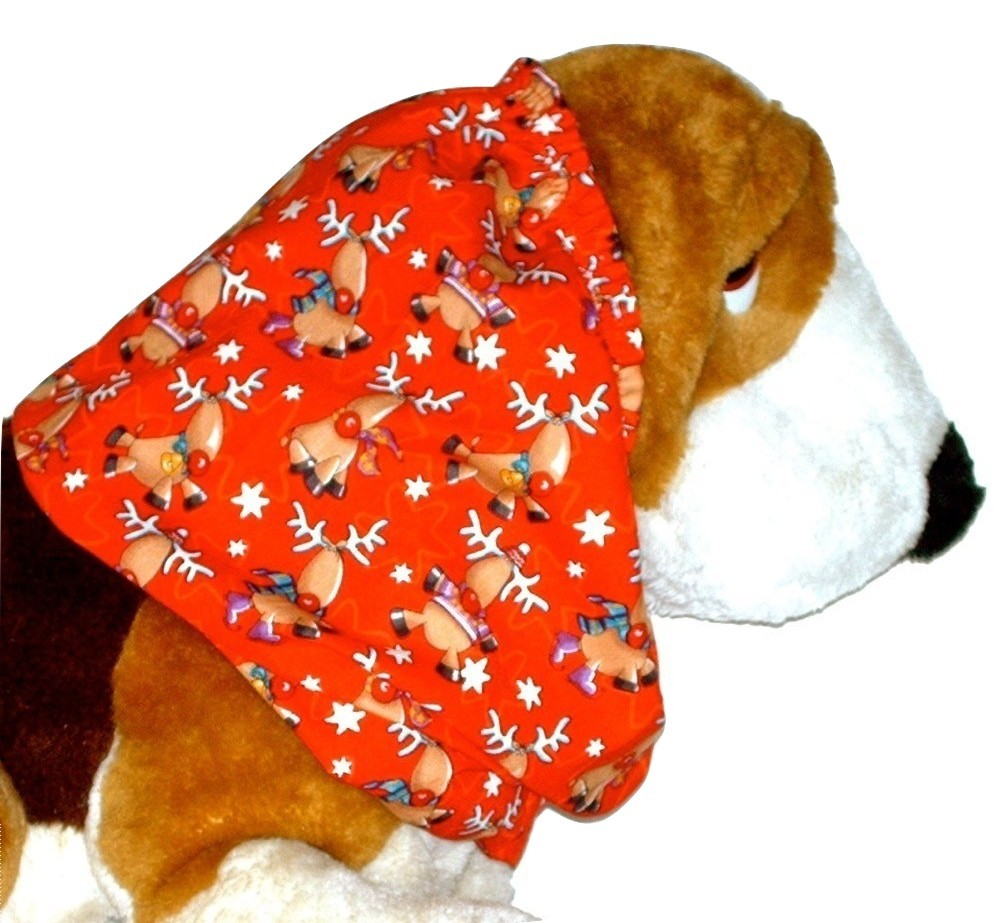 Christmas Holiday Reindeer Red Cotton Dog Snood by Howlin Hounds Puppy SHORT