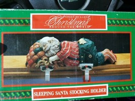 House of Lloyd Christmas Sleeping Santa Dual 2 Stocking Holder Shelf Mantle - $12.86