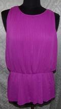 Ann Taylor Camiseta sin Mangas 14 Magenta Blusa Gasa Plisada - $22.13