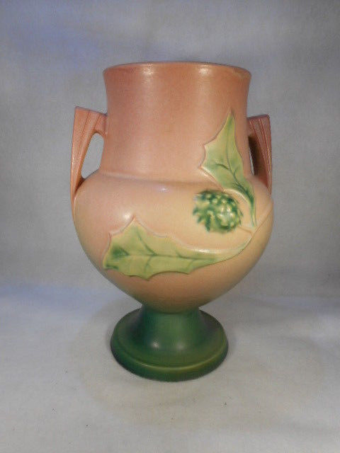 "Vintage Roseville Double Handled Thorn Apple 10"" Pink Vase Marked 822"