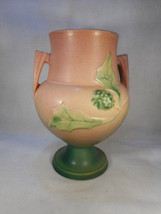 "Vintage Roseville Double Handled Thorn Apple 10"" Pink Vase Marked 822 - $242.55"
