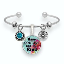 Have Courage and Be Kind Silver key Cuff Bracelet Inspirational Jewelry Gift - $13.80
