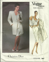 Vogue 1867 Christian Dior 80s Pattern Jacket, Top, Skirt Dressy Suit Cho... - $12.99
