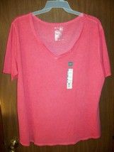 New Women's Terra & Sky Notch Neck T-SHIRT Sz 2X Red Rover Relaxed Fit - $12.05
