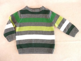 24mos Crew Neck Sweater Pullover Long Sleeve Gray Green Stripes Children's Place - $14.01