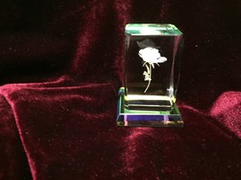 """Rose Miniature Rectangle Crystal 2"""" Attached Glass Base With Box New - $11.30"""