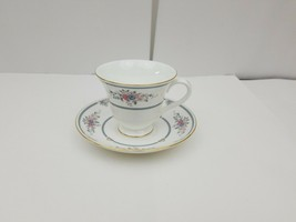 Wedgwood Bone China Cup & Saucer Charlotte White Gold Trim Floral Englan... - $13.54
