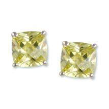 "Rhodium ""nickel free"" Stud Earrings with (2) 10 mm Peridot CZ - $24.74"