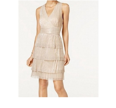 Connected Womens Metallic Crinkle Tiered Halter Cocktail Party Dress Siz... - $39.59