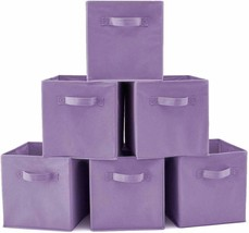 Set of 6 Collapsible Purple Storage Bins Cubes Baskets Handles Toys Clothes - £37.80 GBP