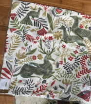 Pottery Barn Llew Deer Pillow Cover Green 22 sq Christmas Reindeer Print New - $36.00
