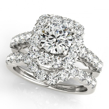 Round Cut Cubic Zirconia Bridal Engagement Ring Set White Gold Plated 925 Silver - $87.50