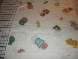 "Garden Bears Allover Tossed Pots 1998 Daisy Kingdom Fabric 35"" Long HTF - $19.95"
