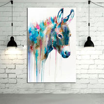 Animal Oil Painting  Lovely Donkey Animal Hand-painted Abstract Wall Art - $49.50