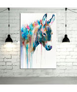 Animal Oil Painting  Lovely Donkey Animal Hand-painted Abstract Wall Art - $67.32 CAD