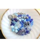 SALE Lot Ombre Blue Mixed Czech Glass Beads Mix Soup Destash Girl Summer... - $11.67