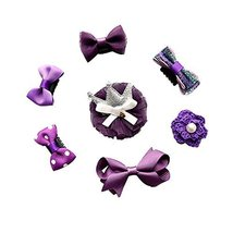 7 Pieces Small Purple Hair Barrettes Hair Pins Little Girls Hair Accessories