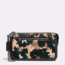 COACH 58412 NOLITA 24 Leaf Print Calf Hair Large Wristlet Purse Bag Blac... - £65.75 GBP