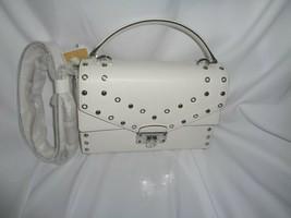 Michael Kors Kinsley Medium Top Handle Satchel Crossbody Optic White Studs - $123.25