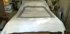 William Sonoma Queen GREEK KEY REGENT Gray Grey Embroidered Border DUVET... - $99.99