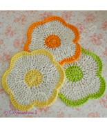 3 Dishcloths Flower Cotton Crochet Citrus Lemon Lime Orange Hot Pads Was... - $9.99