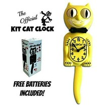 """MAJESTIC YELLOW KIT CAT CLOCK 15.5"""" Free Battery MADE IN THE USA Kit-Cat... - $59.99"""