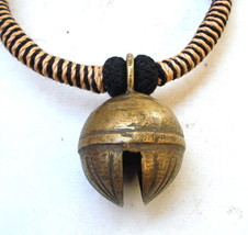 ancient antique tribal old brass bell pendant necklace gypsy hippie india - $98.01