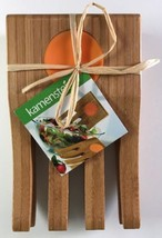 """Kamenstein 6-1/2"""" Bamboo Hand Salad Server Set of 2 With Silicone Inserts - $279,32 MXN"""
