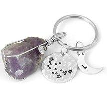 Custom Quartz Keychain, Raw Stone Keychain Hammered Aquarius Keychain Aq... - $6.93