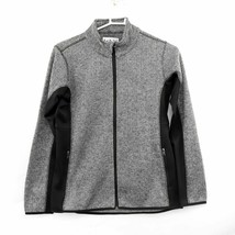 Marc New York Andrew Marc Black Herringbone Women's Full Zip Sweater Jacket XXL image 1