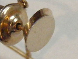 Vintage 13mm gold tone oval tie tack with chain - £3.58 GBP