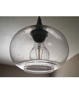 Elegant Chrome Finish Hanging Mini Pendant Round Seeded Glass Kitchen Is... - $76.44