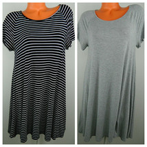 Lot Bundle (2) OLD NAVY Large 12 14 Tunic T-Shirt DRESS Black Gray Strip... - $28.50