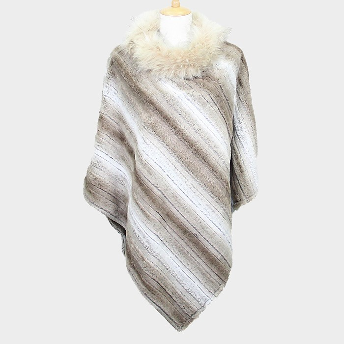 Beige Striped Faux Fur Neck Collar Poncho